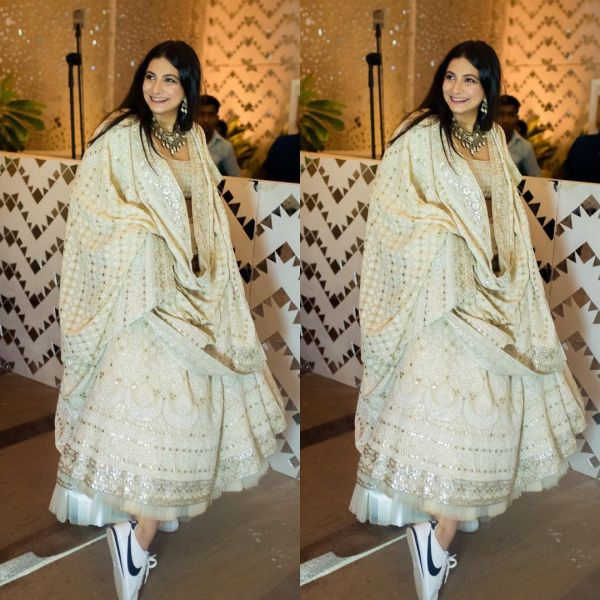 3-koffee-with-karan-rhea-kapoor-wearing-sneakers-under-lehenga