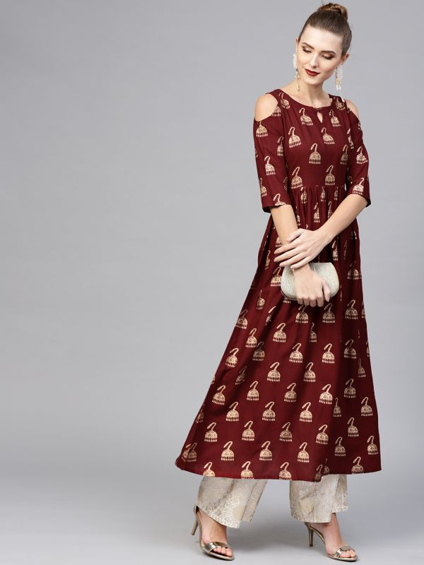 23-neck-designs-for-kurtis-Cold-Shoulder-Neck