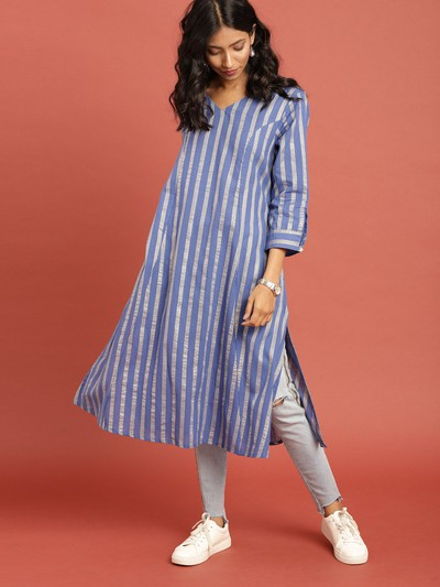 neck-designs-for-kurtis-A-line-Kurti