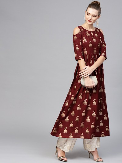 neck-designs-for-kurtis-Cold-Shoulder-Neck