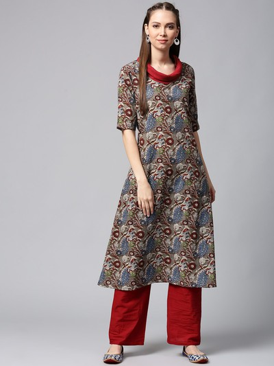neck-designs-for-kurtis-Cowl-Neck