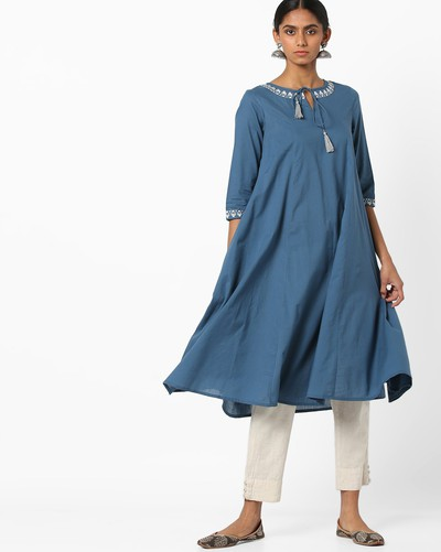 neck-designs-for-kurtis-Flared-Kurti