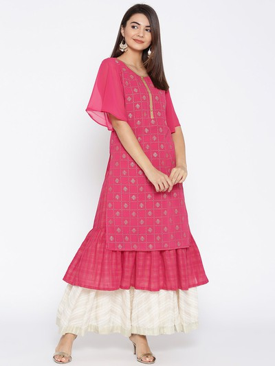 neck-designs-for-kurtis-Layered-Kurti