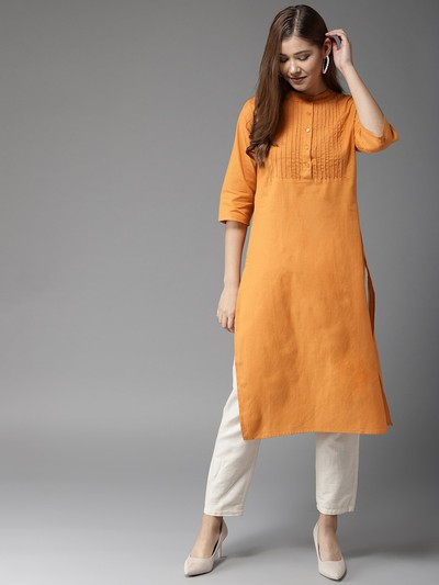 neck-designs-for-kurtis-Straight-Fit-Kurti