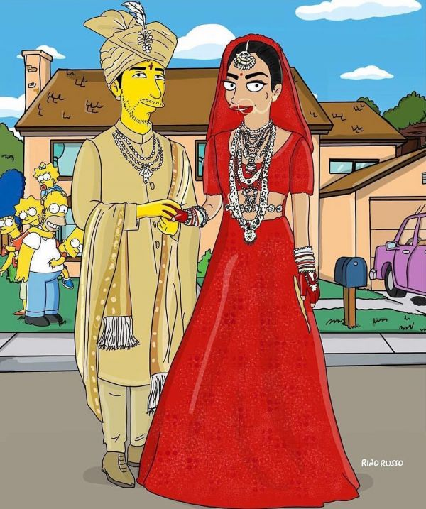 Priyanka Chopra And Nick Jonas Become The First Ever Couple To Get Their Simpson Cartoons- Simpson red