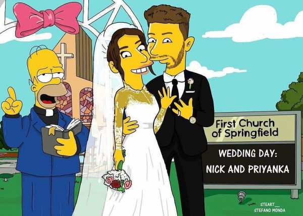Priyanka Chopra And Nick Jonas Become The First Ever Couple To Get Their Simpson Cartoons- Simpson white