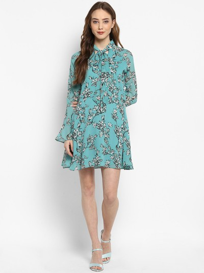 21-honeymoon-dresses-Sea-Green-Printed-Fit-and -Flare-Dress for marathi