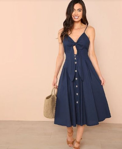 22-honeymoon-dresses-Knot-Front-Button-Up-Cami-Dress for marathi