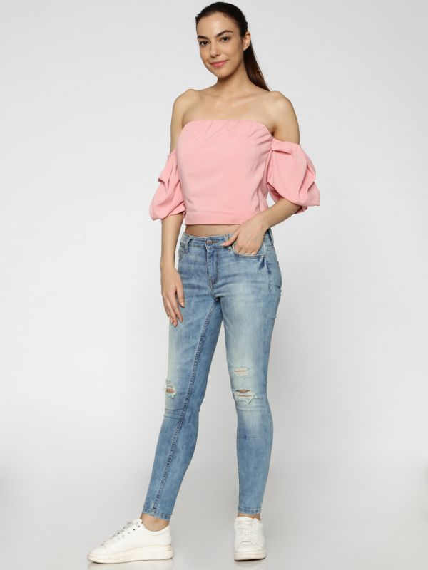 2-types-of-tops-Women-Pink-Solid-Bardot-Top