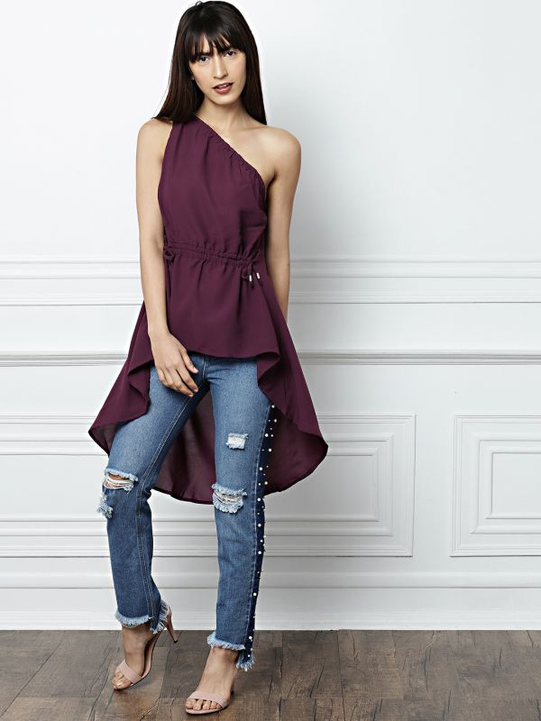 24-types-of-tops-Women-Burgundy-Solid-One-Shoulder-Top