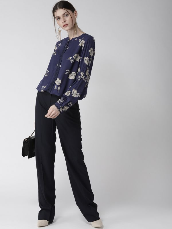 3-types-of-tops-Women-Navy-Blue-Beige-Printed-Blouson-Top
