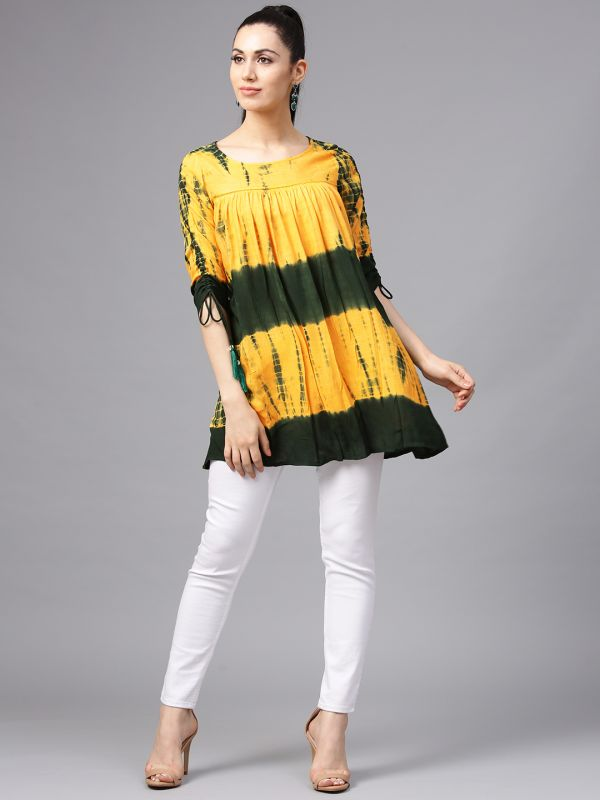 34-types-of-tops-Yellow- -Green-Tie- -Dye-Printed-A-Line-Tunic