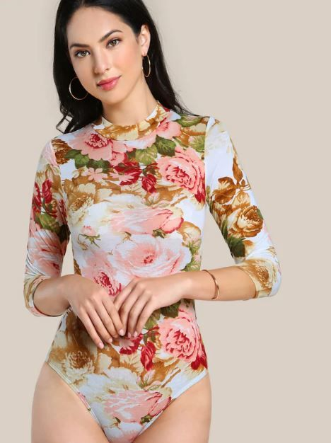 4-types-of-tops-SHEIN-Mock-Neck-Flower-Print-Bodysuit