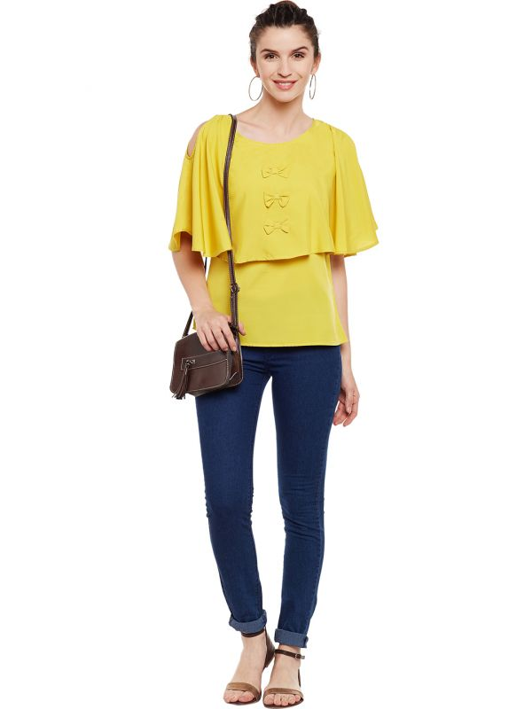 7-types-of-tops-Women-Mustard-Yellow-Solid-Cape-Top