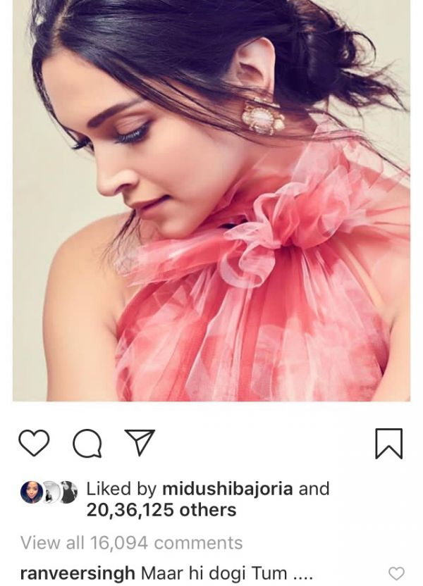2 Deepika%E2%80%99s New Hairdo Is Killer  Ranveer Agrees With Us - ranveer singh's comment on deepika padukone's post