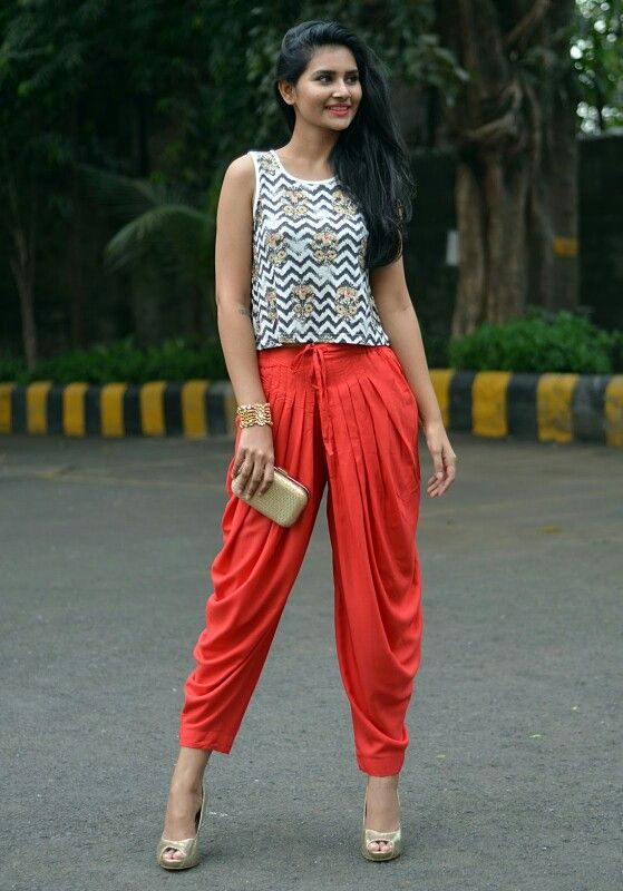 crop top-dhoti pants