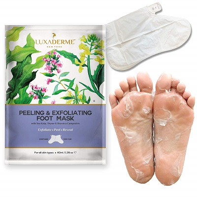 LuxaDerme-Peeling-and-Exfoliating-Foot-Mask-best-foot-scrubs