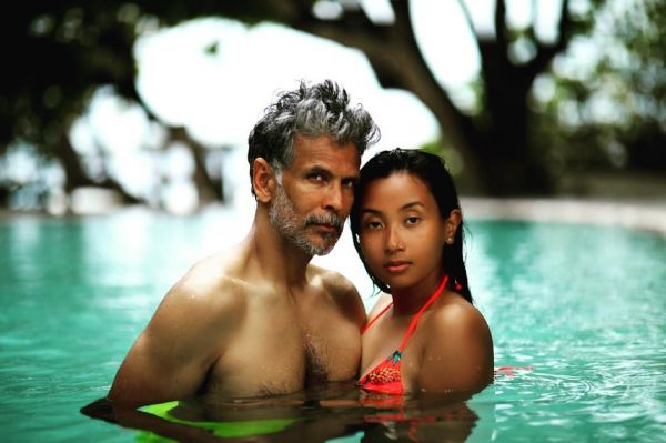 2 milind soman gets cozy with wife ankita