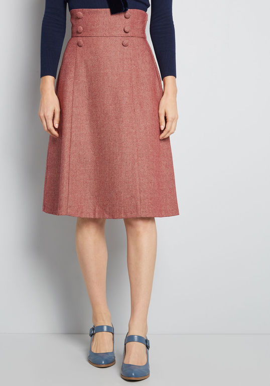 10095251 timeless elements high-waisted skirt red MAIN