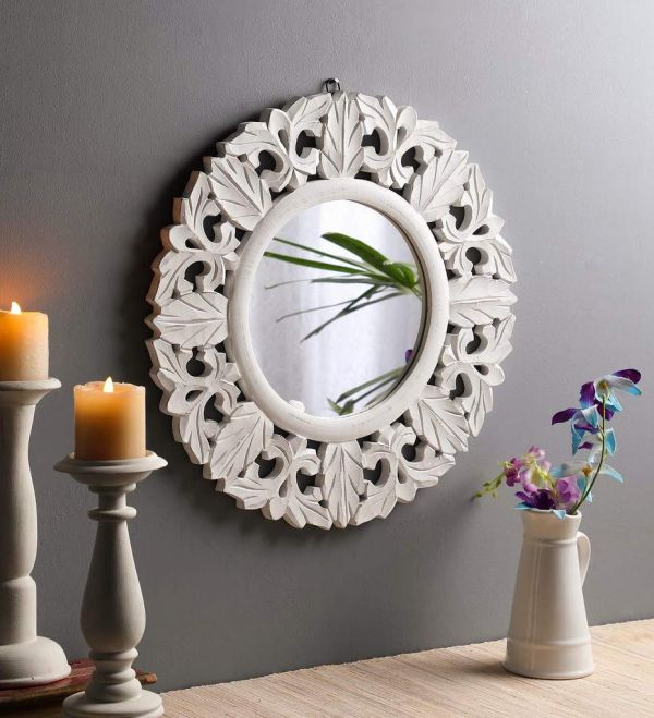 1 The Urban Store Hand Crafted Wooden Wall Mirror %28Rs 1 891%29