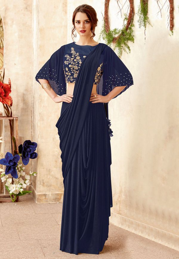 prestitched-lycra-cowl-style-saree-in-navy-blue-v1-sws5840