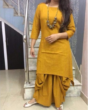 Cotton-Mustard-Plain-Stitched-Dhoti-Style-suit 2914651