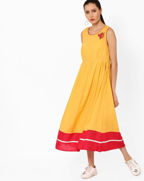 warm undertone 1-what colours suit your skin tone - ajio - golden yellow midi dress