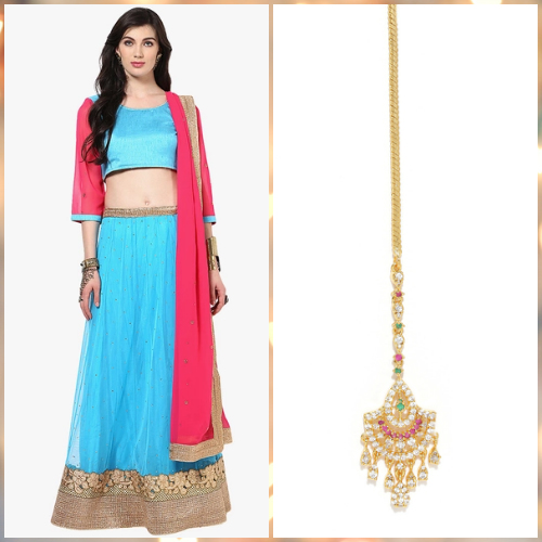 1280b161b48 7 outfit ideas - yepme blue lehenga zaveri pearls gold and pink maangtika