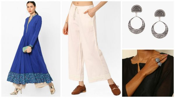 1 outfit ideas - blue kurta white palazzo silver earrings silver ring