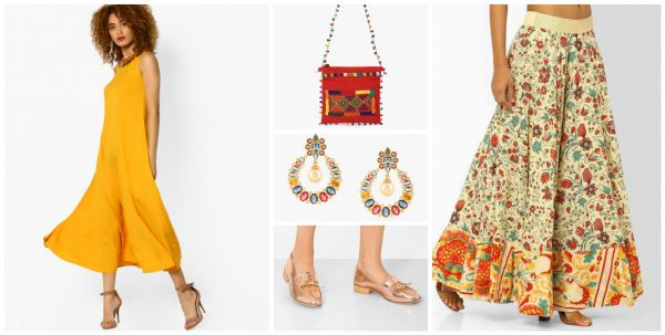 2 outfit ideas yellow kurta red bag multicoloured earrings golden shoes printed skirt