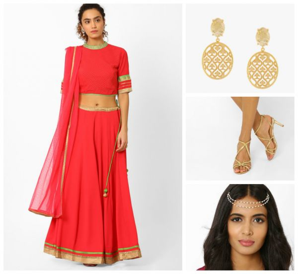 5 outfit ideas red lehenga glden earrings golden heels pearl head chain