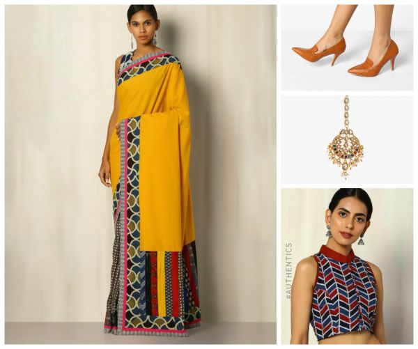 10 outfit ideas yellow saree beige shoes golden maangtika red blouse