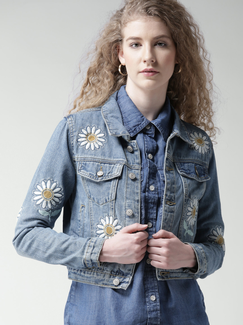 10 fashion essentials for college girls  Blue Embroidered Denim Jacket