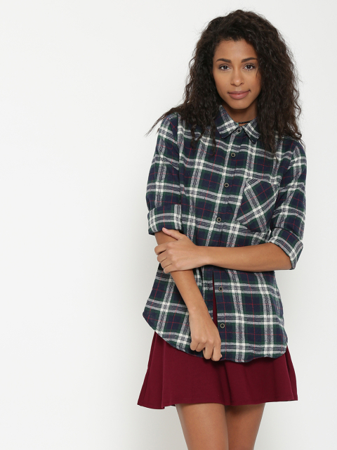 5 fashion essentials for college girls Navy Checked Flannel Shirt