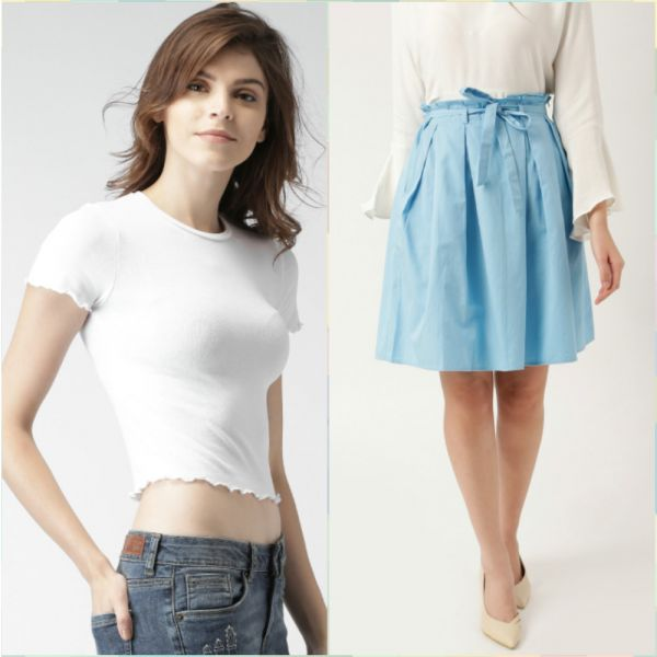 3 outfits for your first day at work - white crop top - blue pleated skirt