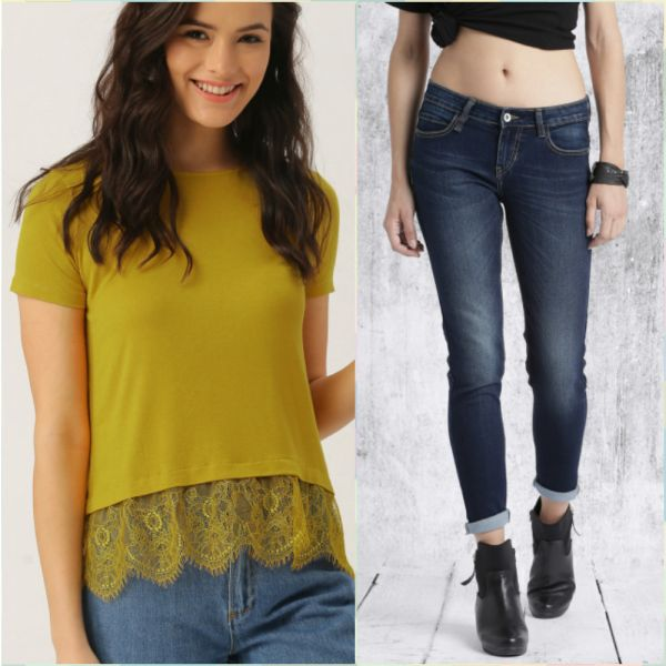 5 outfits for your first day at work - mustard top all about you - blue skinny jeans