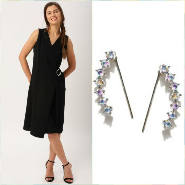 6 outfits for your first day at work - black wrap dress - contemporary studs