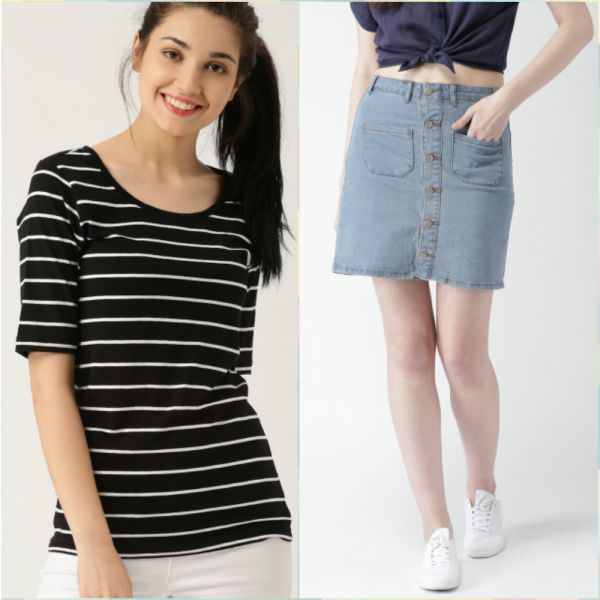 7 outfits for your first day at work -striped t shirt and pencil skirt