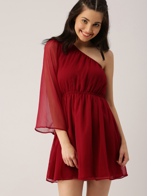 3 dresses that suit girls with dusky skin - DressBerry Women Maroon Solid Fit and Flare Dress