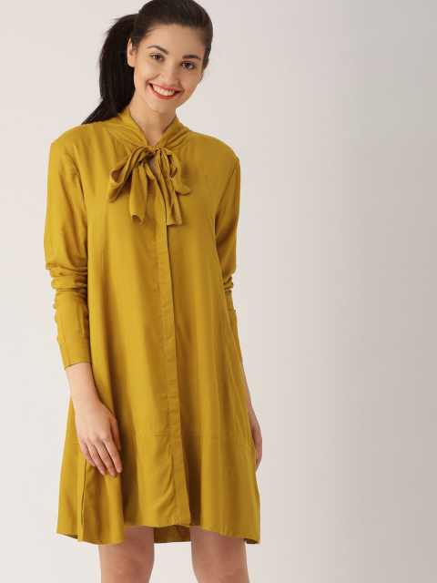 1 dresses that suit girls with dusky skin - DressBerry Women Mustard Yellow Solid A-Line Dress