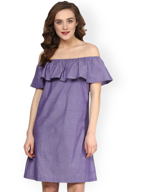 17 dresses that suit girls with dusky skin -SASSAFRAS Women Purple Printed A-Line Dress