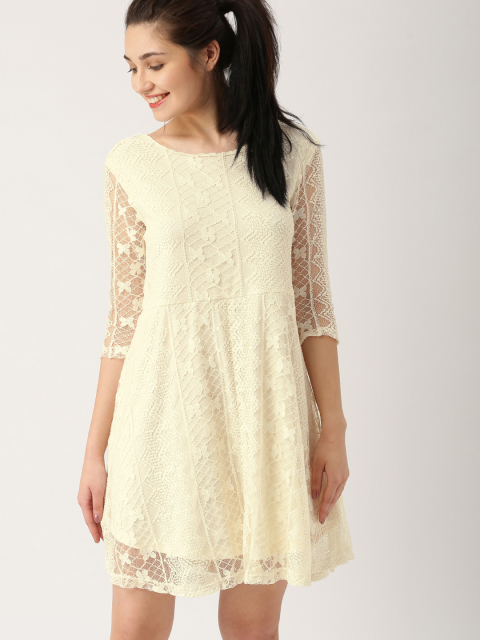 14 dresses that suit girls with dusky skin -DressBerry Women Off-white Solid A-Line Dress