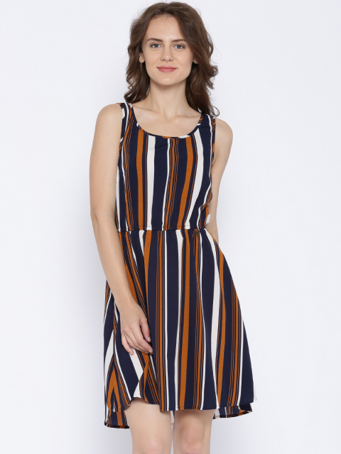 9 dresses that suit girls with dusky skin -ONLY Navy   Mustard Yellow Chiffon Striped Fit   Flare Dress