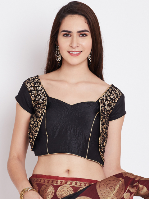 2 fashion essentials every curvy bride must have Banarasi Style Black Cotton Paisley Pattern Blouse