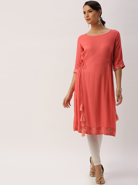 5 fashion essentials every curvy bride must have all about you from Deepika Padukone Women Coral Red Solid A-Line Kurta