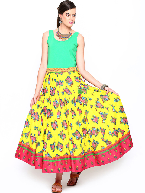 7 fashion essentials every curvy bride must have BIBA OUTLET Yellow Printed Flared Maxi Skirt