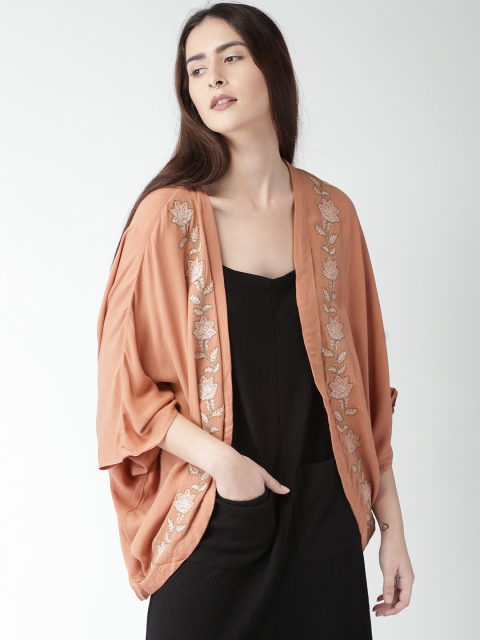 15 stylish capes and shrugs FOREVER 21 Peach Embroidered Shrug