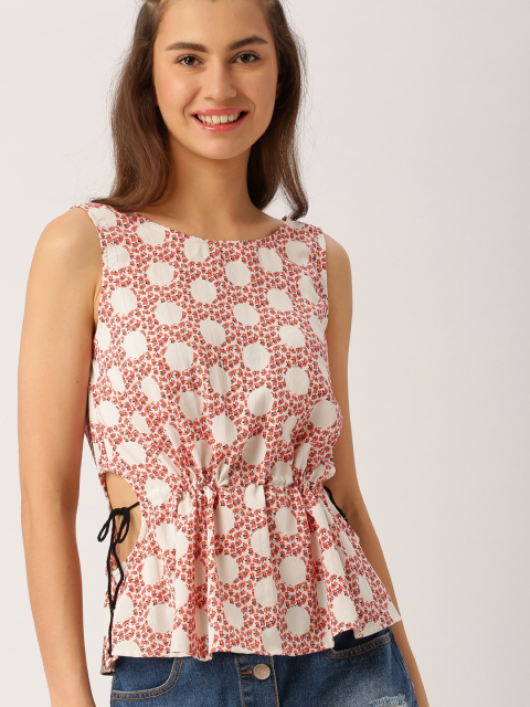 6 party tops DressBerry Women White Printed Cinched Waist Top