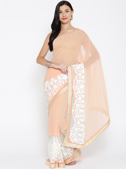 14 simple sarees - Peach-Coloured Supernet Embroidered Saree