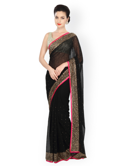 15 simple sarees - Black Georgette Embellished Saree